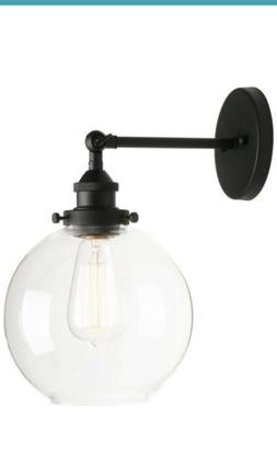 1 Industrial Clear Glass Globe Wall Light Antique Black Wall