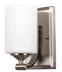 Hampton Bay 1-Light Brushed Nickel Wall Sconce with Frosted