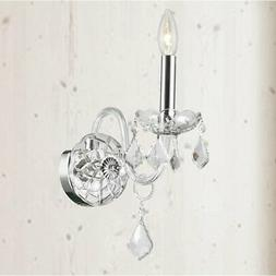 """1 Light Chrome Finish 4"""" x 15"""" Provence Clear Crystal Candle"""