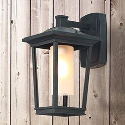 LOG BARN 1-Light Wall Sconces Black Patio Wall Lamps Outdoor