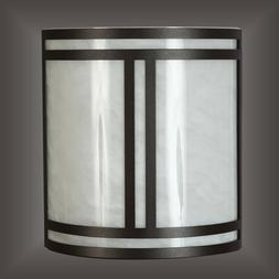 """11"""" Matte Black Wall Sconce White Swirl Acrylic Diffuser wit"""