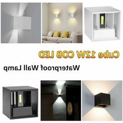 12W Modern COB LED Wall Light Up Down Cube Indoor Outdoor Sc