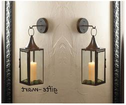 2 Brown iron Artisanal Sconce WALL hook hurricane candle hol
