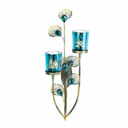 2 Peacock Plume Wall Sconces Candle Holder Blue Glass Galler