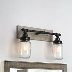 2 Armed Vanity Lights Black Wood Glass Shade Wall Sconces Ba