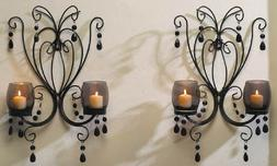 2 Crystals Wall Sconce Hanging Candle Holder Elegant Black M
