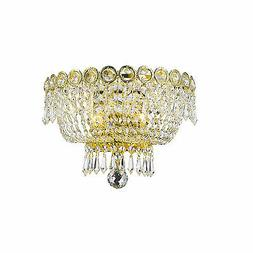 "2-Light Gold Finish D 12"" x H 8"" Empire Crystal Wall Sconce"