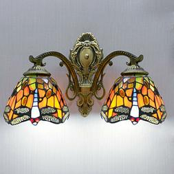 2-Light Tiffany Mirror Wall Sconces Lamp Stained Glass Wall