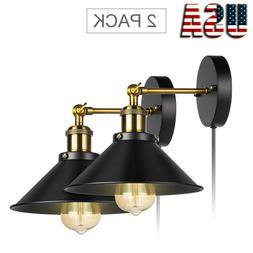 2-Light Wall Sconce Iron Lamp Indoor Decor Fixture Plug in C