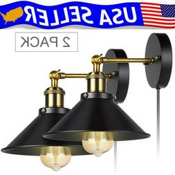 2 Lights Wall Sconce Iron Lamp Indoor Decor Fixture Plug in