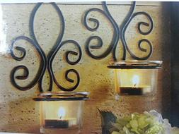 2 Metal Wall Sconces Set of 2 Wax Tealight Candles 6.18 x 4.