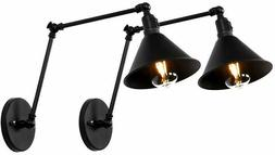 2-Pack Black Swing Arm Wall Lamp Lights with Switch Corded W