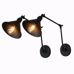 2-Pack Black Swing Arm Wall lamp Lights with Switch hard wir