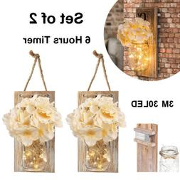 2 Pack Lighted Mason Jar Wall Sconce Fairy Lights Timer LED