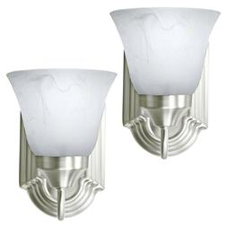 2 Pack of Brushed Nickel Wall Sconce Single Light Fixture In