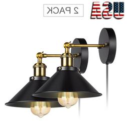 2-Pack Retro Wall Sconces Light Wall Lamp Plug in Cord with