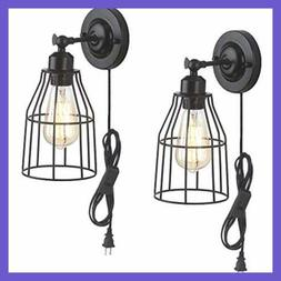 2 Pack Rustic Wall Sconce W Plug In Cord & Toggle Switch BLA