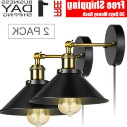 2 Pack Wall Sconce Iron Lamp Indoor Decor Fixture Plug in Co
