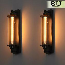 2 PCS Vintage Industrial Metal Wall Lamp Sconce Light Edison