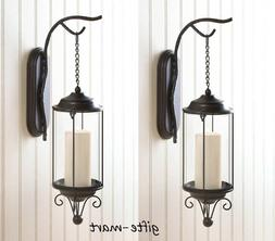2 set Hanging BRONZE rustic metal Branch wall sconces candle