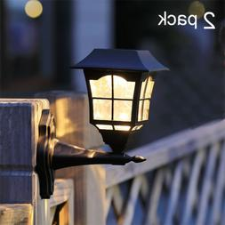 2 Solar Outdoor Garden Post Pole Lantern LED Light Lighting