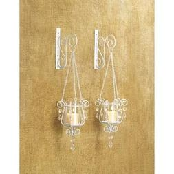 2 White Chic Shabby Hurricane Crystal Hanging Outdoor Candle