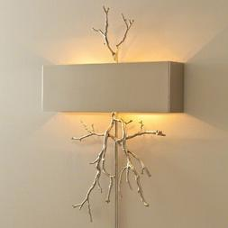 """20.25"""" Wide Twig Hardwired Wall Sconce Nickel Cast Real Twig"""
