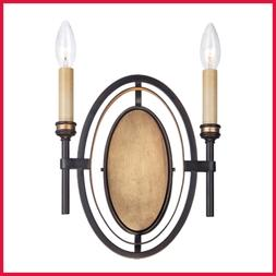 25644 Infinity 2 Light Wall Sconce Oil Rubbed Bronze/Gold Le