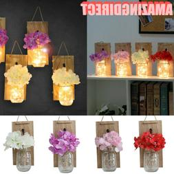 2Pack Color Flower Mason Jar Sconce Rustic Wall Sconces Rust