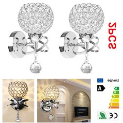 2pcs LED Modern Crystal Wall Lamp Sconce Bulb Bedroom Hallwa