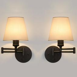 2PCS Swing Arm Wall Sconce Adjustable Wall Lamp Extendable M
