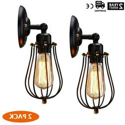 2Pcs Wire Cage Wall Sconce Dimmable Black Metal Industrial W