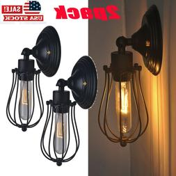 2x Industrial Wall Sconce Light Metal Shade Vintage Lamp Bar