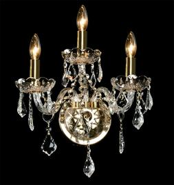 3-light hallway wall sconce clear crystal Silver/Gold finish