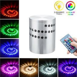 3W LED Wall Light RGB Spiral Wall Lamp Remote Fixture Sconce