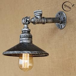 4 Color Iron Rust Water Pipe Wall Lamp Sconce Light with Swi