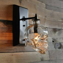 """4"""" Wide Industrial Style LED Skull Clear Glass Shade Wall Sc"""
