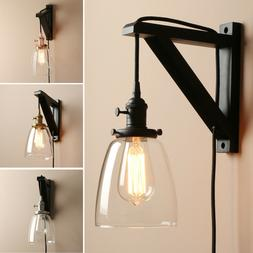 "5.6"" CLOCHE CLEAR GLASS VINTAGE INDUSTRIAL WALL LAMP SCONCE"