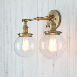 "5.9"" GLOBE CLEAR GLASS RETRO INDUSTRIAL WALL LAMP SCONCE DOU"