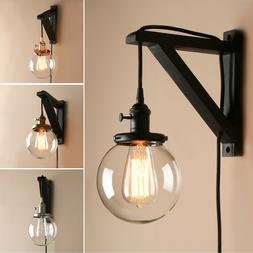 """5.9"""" GLOBE CLEAR GLASS VINTAGE INDUSTRIAL WALL LAMP SCONCE P"""