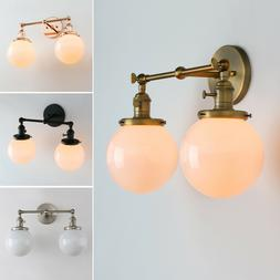 "5.9"" GLOBE WHITE GLASS RETRO INDUSTRIAL WALL LAMP SCONCE DOU"