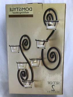 Domistyle # 5156 Black Iron Wall Sconces Set of 2 w/ 6 glass