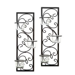 "Hosley Set of Two 13.75"" High Black Iron Tealight Wall Sconc"