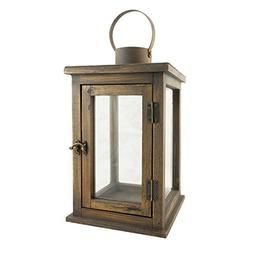 Stonebriar 12.5 Inch Rustic Wooden Candle Hurricane Lantern,
