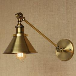 Adjustable Brass Finish Wall Sconce Industrial Style Swing A