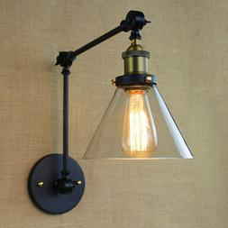 Adjustable Industrial Swing Arm Wall Sconce Light Clear Glas