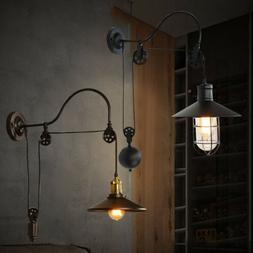 Adjustable Lift Pulley Industrial Wall Sconce Mounted Light