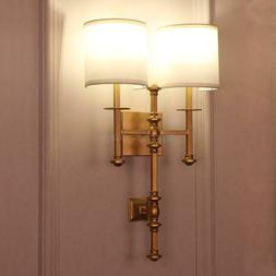 Antique Brass Double Grey Shade Sconce E14 Light Wall Lamp H