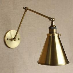 Antique Brass Down-Light Wall Lamp Adjustable Arm Mid-Centur