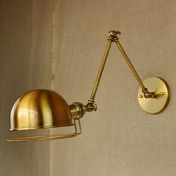Antique Brass Industrial Swing Arm Wall Light Sconce E27 Lam